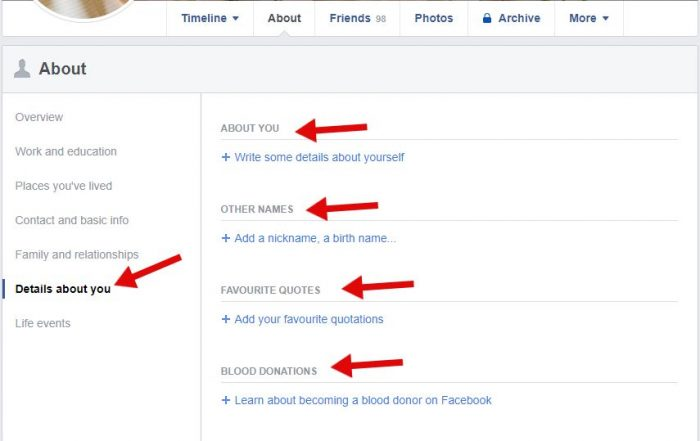 Details about you for create a professional facebook account